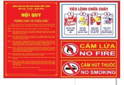 Bảng nội quy - tiêu lệnh - cấm lửa - cấm thuốc 4 trong 1