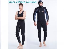 Bộ quần áo lặn 5mm, dài tay (một mảnh, dính liền mũ)